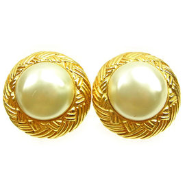 Chanel Gold Tone Hardware with Pearl Earrings