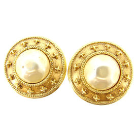 Chanel Gold Tone Hardware with Fake Pearl Earrings