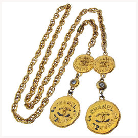 Chanel Coco Mark Coin Gold Tone Hardware with Rhinestones Necklace