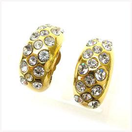 Chanel Gold Tone Hardware with Rhinestone Earrings