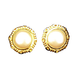 Chanel Gold Tone Hardware with Faux Pearl Earrings