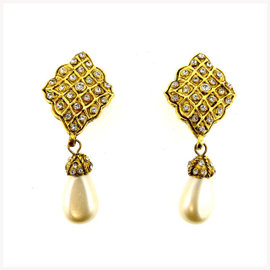 Chanel Gold Tone Hardware Faux Pearl and Rhinestone Earrings