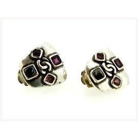 Chanel Silver Tone Hardware with Rhinestone Earrings