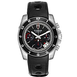 Tudor Grantour Black Dial Chronograph Steel Mens Watch 20350N