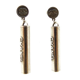 Chanel Silver Tone Hardware Bar Logo Earrings