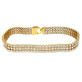 14k Yellow Gold Three Row Diamond Tennis Bracelet