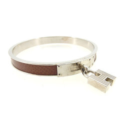 Hermes Kelly Silver Tone Hardware and Leather Bangle Bracelet
