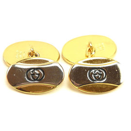 Gucci Gold and Silver Tone Hardware Interlocking G Cufflinks