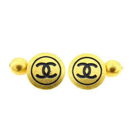 Vintage Chanel Coco Mark Gold Tone Hardware Cufflinks