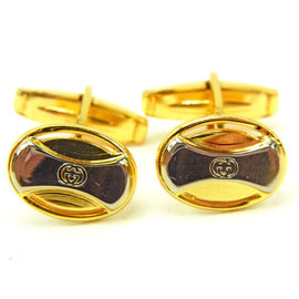 Gucci Gold and Silver Tone Hardware Double G Cufflinks