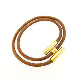 Hermes Gold Tone Hardware & Leather Tournis Bracelet