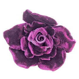 Chanel Velvet & Gold and Silver Tone Hardware Camellia Brooch