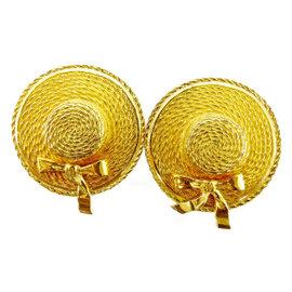Chanel Gold Tone Hardware Hat Motif Earrings