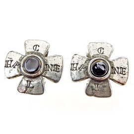 Chanel Silver Tone Hardware with Stone Earrings