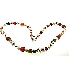 """David Yurman Sterling 36"""" Long Large Ball Bead Chain Necklace Red Brown"""