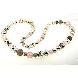 "David Yurman Sterling 36"" Long Large Ball Bead Chain Necklace Rose Quartz $2900"