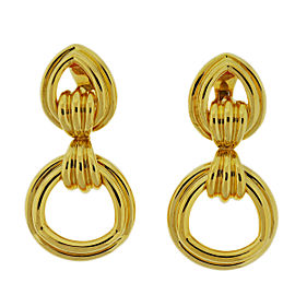 18K Yellow Gold Extra Large Door Knocker Hanging Earrings