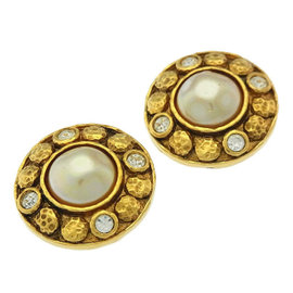 Chanel Gold Tone Hardware with Simulated Glass Pearl and Rhinestone Earrings