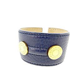 Bulgari Leather & Gold Tone Hardware Bangle Bracelet