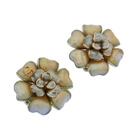 Chanel Gold and Silver Tone Hardware Camellia Earrings