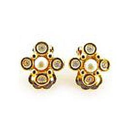 Dior Gold Tone Hardware with Rhinestone & Fake Pearl Earrings