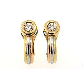 Cartier Clip On Earrings 18K White & Yellow Gold with 0.20ct Diamond