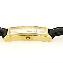 Tissot Watch Ladies 18K Yellow Gold Rectangle Black Patent Leather strap
