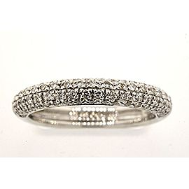 Diamond Wedding Band 18K White Gold Domed Pave 1/3rd ct Ring sz 7.25 4mm Wide