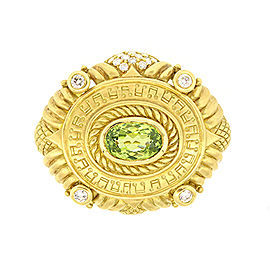 Judith Ripka 18K Yellow Gold Peridot & Diamond Music Pin Brooch
