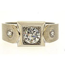 C.D. Peacock Diamond Mens Ring 14k Palladium European Cut 1.02ct 10 Vintage