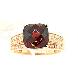 Effy 14K Rose Gold Garnet & 0.20ct Diamond Band Ring Size 7