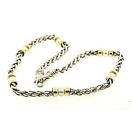 David Yurman 925 Sterling Silver & 14K Yellow Gold Cultural Pearl Station Wheat Chain Necklace