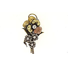 Diamond Pin Brooch Antique 14k Gold Flower Old Mine Cut 1/2ct Solitaire