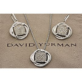 David Yurman Infinity Neckace Pendant & Earrings Sterling Silver Diamond