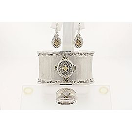 Gabriel & Co. Cuff Bracelet Earrings Ring Set 18k Gold Sterling Silver Diamond