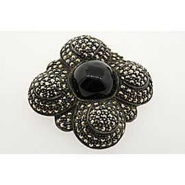 Judith Jack Pin Brooch JJ STERLING SILVER ONYX MARCASITE Large Huge