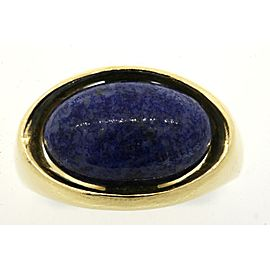 Grosse Sodalite Cabochon Ring Rare 18K Yellow Gold 1972 Germany Blue Band 7.5