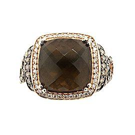 LeVian 14K Rose Gold Smokey Quartz & Diamond Ring Size 9.5