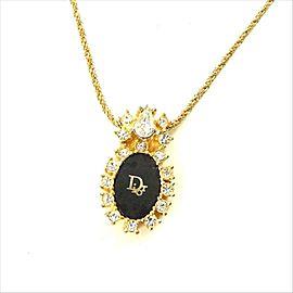 Dior Gold Tone Hardware with Rhinestones Pendant Necklace