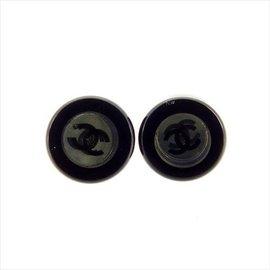 Chanel Coco Mark Black Plastic Piercing Earrings