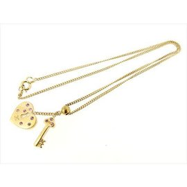Chanel Gold Tone Hardware with Pink Rhinestone Pendant Necklace