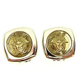 Versace Gold Tone Hardware Medusa Earrings