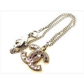 Chanel Coco Mark Gold Tone Hardware with Pink Rhinestone Bracelet