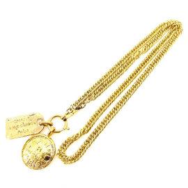 Chanel Gold Tone Hardware Pendant Necklace