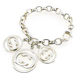 Gucci 925 Sterling Silver G Logos Bangle Bracelet