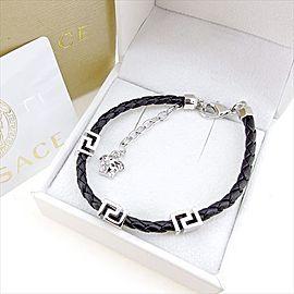 Versace Leather & Silver Tone Hardware Bangle Bracelet