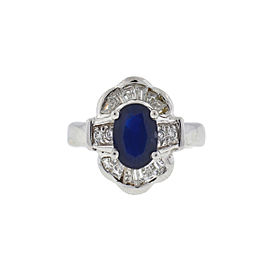 14k Two-Tone Sapphire Diamond Cocktail Ring