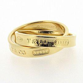 Tiffany & Co. 1837 18K Yellow Gold Diamond Interlocking Ring Size 4.75