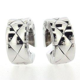 Chanel Matelasse 18K White Gold Earrings
