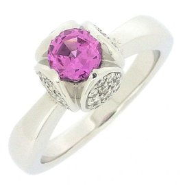 Piaget 18K White Gold with Pink Sapphire and Diamond Ring Size 5